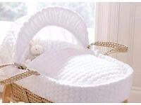 White marsh mellow style moses basket 20 pound