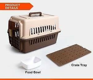 Small Airline Approve Dog Cat Crate Pet Carrier Cage With Bowl