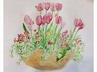 Art, Bristol. Watercolour Painting Classes, Redland Library, Summer 2017. Every Mon am, 10.20-12.30