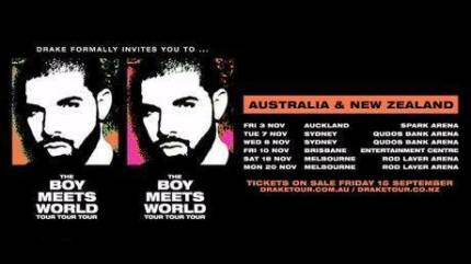 2 x DRAKE SYDNEY TUESDAY NOV 7 EARLY ENTRY PREMIUM GA