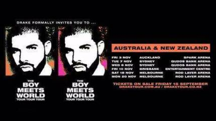 4 x DRAKE SYDNEY TUESDAY NOV 7 EARLY ENTRY PREMIUM GA