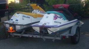 A Set of 2 Seadoo on Double Trailer