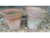 Pair of Round Ribbed Terracotta Garden Plant Pot