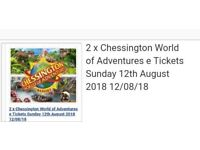 2 adult chessington world of adventure day tickets - 12/08/18
