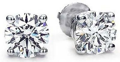 1 carat Round Diamond 14k White Gold Stud Earrings Screw back GIA cert. G VVS