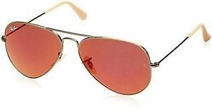 5f59435eb84 Ray-Ban Aviator Bronze Frame Red Mirror Lens Sunglasses Rb3025 167 2k 58mm