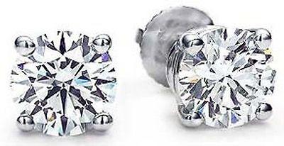 2 ct Round Diamond 18k White Gold Stud Earrings GIA cert triple Excellent G SI1