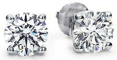 1.20 carat Round Diamond 18k White Gold Stud Earrings Screw back, GIA cert. E VS