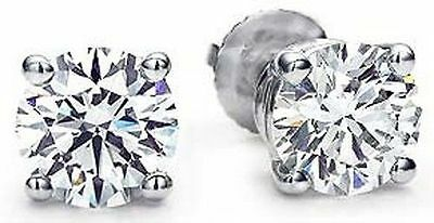 2 carat Round cut Diamond Studs, GIA report F Color SI2 Platinum Earrings