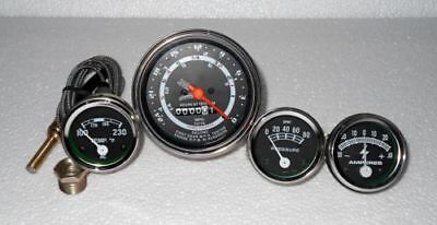 Ford Tractor 8n 9n 2n Tachometer Temp Oil Amp Gauge Chrome Bezels