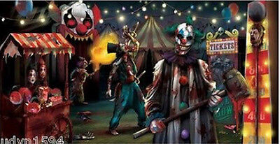 HALLOWEEN party BANNER Scene Setter CREEPY EVIL CARNIVAL CLOWN wall poster 5'