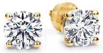 2 Carat Round Ideal cut Diamond Studs 14k Yellow Gold Earrings, GIA F color VS1