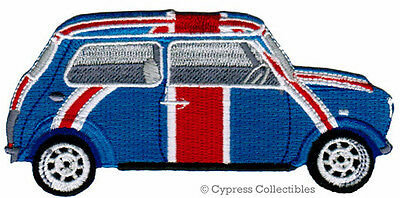 BRITISH FLAG CAR embroidered iron-on PATCH union jack AUTOMOBILE MINI (Embroidered Mini Flag)