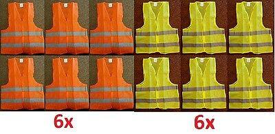 Lot 2 6 Reflective Safety Vest Yellow Orange Strip School Construction Traffic