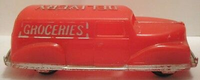 Unusual Antique Plastic Toy Groceries Delivery Panel Truck 4 1 4  Renwal 1940S