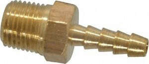 1/8 inch hose barb to 1/8 in Male M NPT Yellow brass threaded pipe fitting long