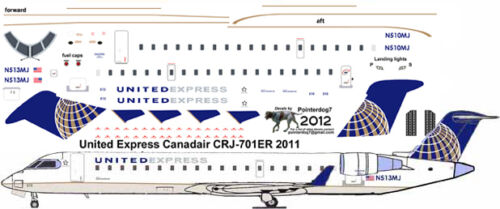 United Express CRJ 700 Pointerdog7 decals for 1/144 kits