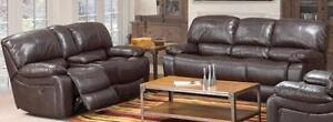 2PC POWERED RECLINING SOFA AND LOVE SEAT IN A CHOCOLATE AIR LEATHER WITH CONTRAST STITCHING $2,299.00SAVE $1,300