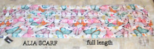 Scarf, silk like, 125 soft colourful butterflies