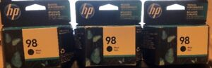 3 brand new (not opened) HP 98 Black Ink Cartridges