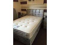 🌈🌈BEST DEAL🌈🌈DOUBLE CRUSHED VELVET DIVAN BED BASE WITH DEEP QUILTED MATTRESS