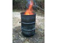 Fire wood burning burner oil drum pan barrel to burn garden wood rubbish waste 3 left can deliver.