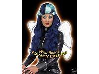 JINX HARD ROCK FAIRIES / WITCH TWO TONE BLUE FANCY DRESS WIG NEW HALLOWEEN PARTY