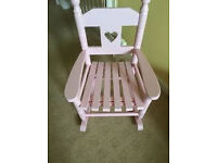 child's solid wood rocking chair (pink). Ideal for repainting/personalising. Collect Langley Moor