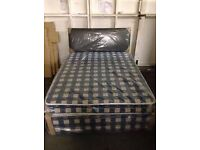Brand New Comfy Double Bed set in blue check FREE delivery Factory sealed
