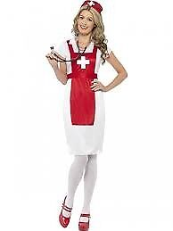 RED AND WHITE SCRUBS / NURSE FANCY DRESS OUTFIT SIZE 12/14 MISSING HAT PARTY OR HEN DO