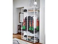 IKEA white mesh wardrobe for sale. Very light, easy to move around but holds an awful lot of stuff.