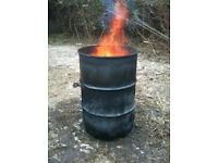 Fire wood burning burner steel oil drum pan barrel to burn your wood rubbish waste can deliver.