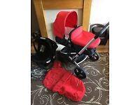 mothercare xperior 3 in 1 red & black pram