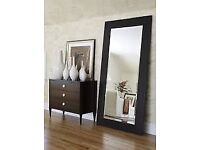 BLACK/DARK BROWN LEATHER FULL LENGTH WALL MIRROR RELATIVELY WIDE FOR A GOOD PRICE.