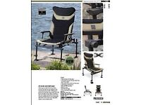 Korum x25 deluxe fishing chair with accessories