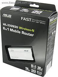 Asus WL-330N3G Wireless-N WiFi 6in1 Mobile Router New Item