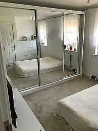 EXCELLENT QUALITY-Lux 3 Door Sliding Full Mirror Wardrobe in White and Black Color