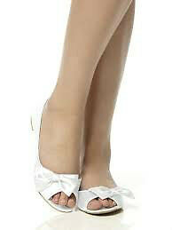 Satin peep toe bridal flats