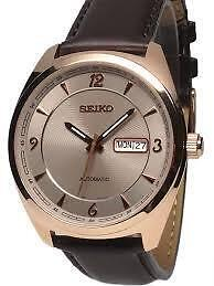 Seiko Men's 'Recraft Series' Japanese Automatic Gold and Brown L  SNKN72