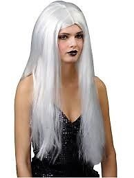 LONG SILVER GREY / WHITE FANCY DRESS WIG GREAT FOR PARTY OR HEN DO NEW