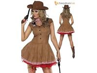 WILD WEST COW GIRL FANCY DRESS OUTFIT SIZE 16/18 WITH HAT PARTY OR HEN DO