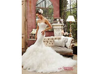 Fishtail Wedding Dress size 14-16, ivory, Designer Sophia Tolli