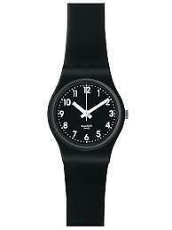 Swatch LB170E  lady black dial silicone strap women watch NEW