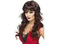 LONG DARK WITH RED STREAKS VIXEN FANCY DRESS WIG PARTY OR HEN DO