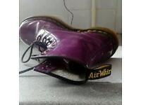 Doc Martens. Purple with yellow stitching. Size 4.
