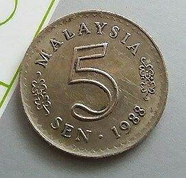 Malaysia 1st series Currency Coin 5 Sen Year 1988 - A VERY NICE & NICE Coin