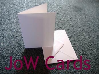 50 White A6 Blank Cards & Envelopes 300 gsm uncoated papercraft card making