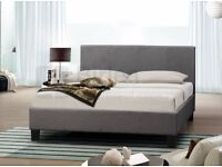 BLACK OR GREY DOUBLE BED brand new AS IN PICTURE free mattress free ottoman