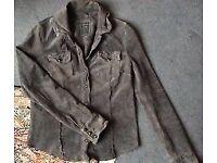 Gorgeous ALL SAINTS *YANI* Grey Suede Leather Shirt Jacket, Women, UK 10