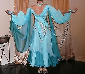 Turquoise and teal flowy and sparkly ballroom dress